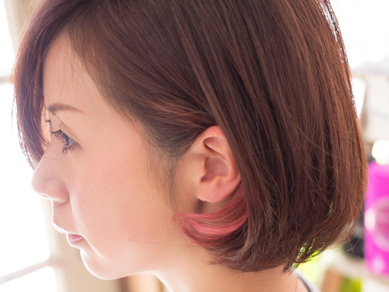 ボブスタイルにインナーカラーそしてカラーバター 亀有の美容師木暮のブログ